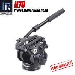 H70 vídeo tripé cabeça fluido monopé cabeça de amortecimento hidráulico para dslr câmera observação aves 8kg carga portátil 2 seções lidar com