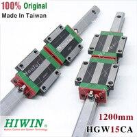 HIWIN 2pcs HGR15 1200mm linear guide rail + 4pcs HGW15CC slide block CNC DIY kit HGW15 HGW