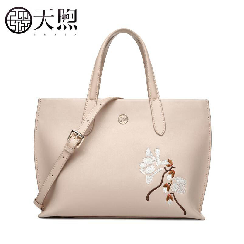 TMSIX 2019 New women Leather bags  designer famous brand pink embroidery fashion handbag tote shoulder bags schoudertas damesTMSIX 2019 New women Leather bags  designer famous brand pink embroidery fashion handbag tote shoulder bags schoudertas dames