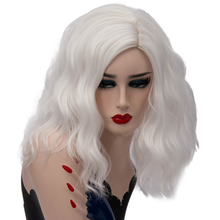 Woman Short Silver White Synthetic Wigs