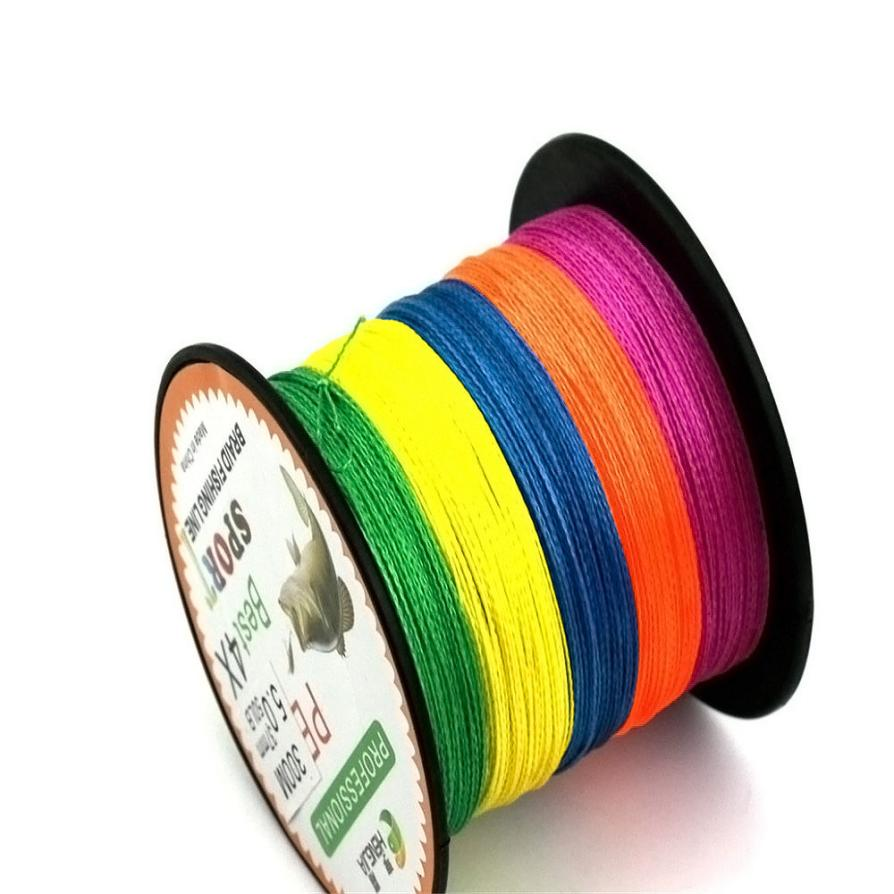 Outdoor Fishing Tools New Super Strong 300M 4X Series PE Braided Lure Fishing Line Wire Colorful Kite P50