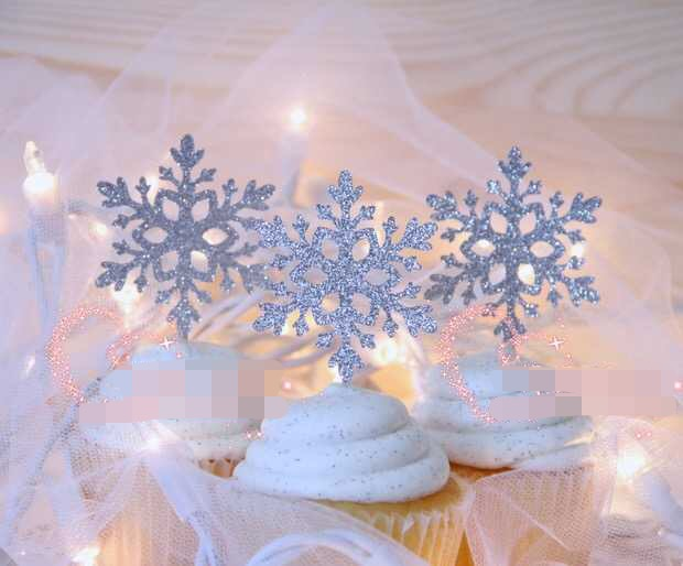 10pcs silver snowflakes cake toppers birthday winter