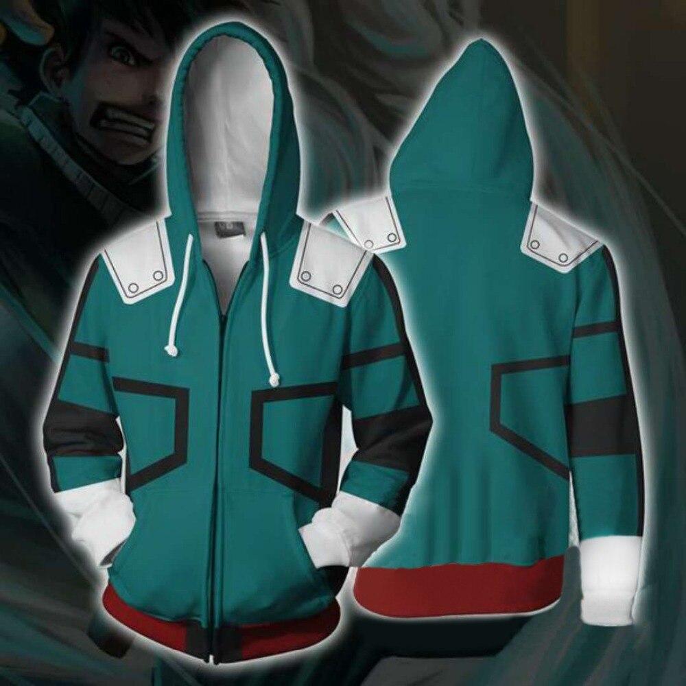 My Hero Academia Deku Izuku Midoriya Cosplay kostüm Hoodies ceket Anime Boku hiçbir kahraman Academia tişörtü