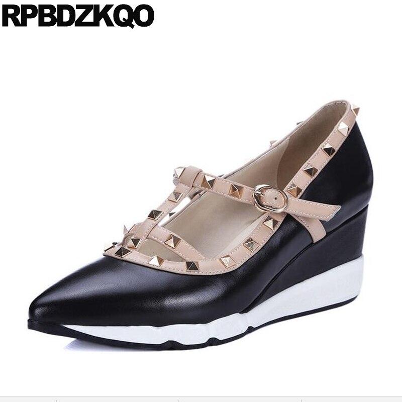 Viga Bombas Couro Legítimo Cunha Sapatos De Designer Europeus Italiano Apontado Para Cima Médio Mulher T Alça Rebite Salto Alto Casual Preto Chinês Moda Primavera Outono China Novo