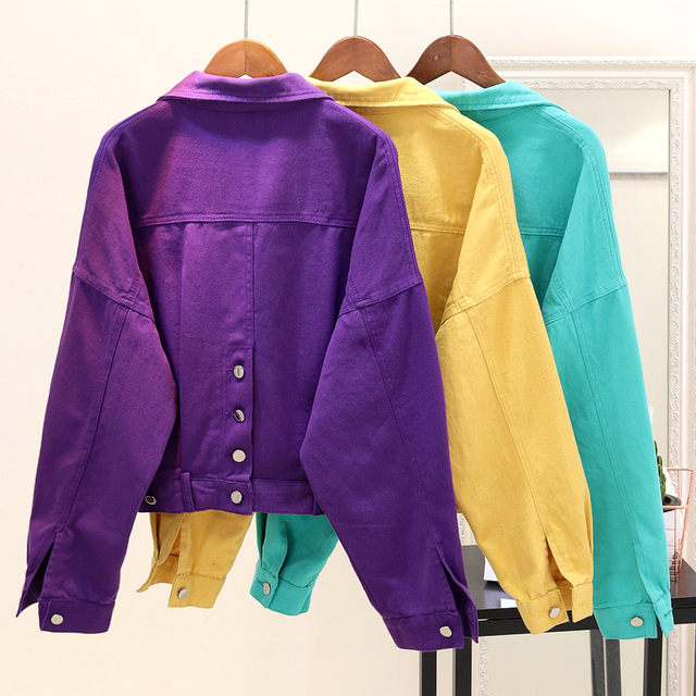 b79d7faddc283 2018 New Spring Autumn Women s Candy-colored Denim Jacket Female Loose Jeans  Coat All Match Student Long Sleeve Casual Outwear