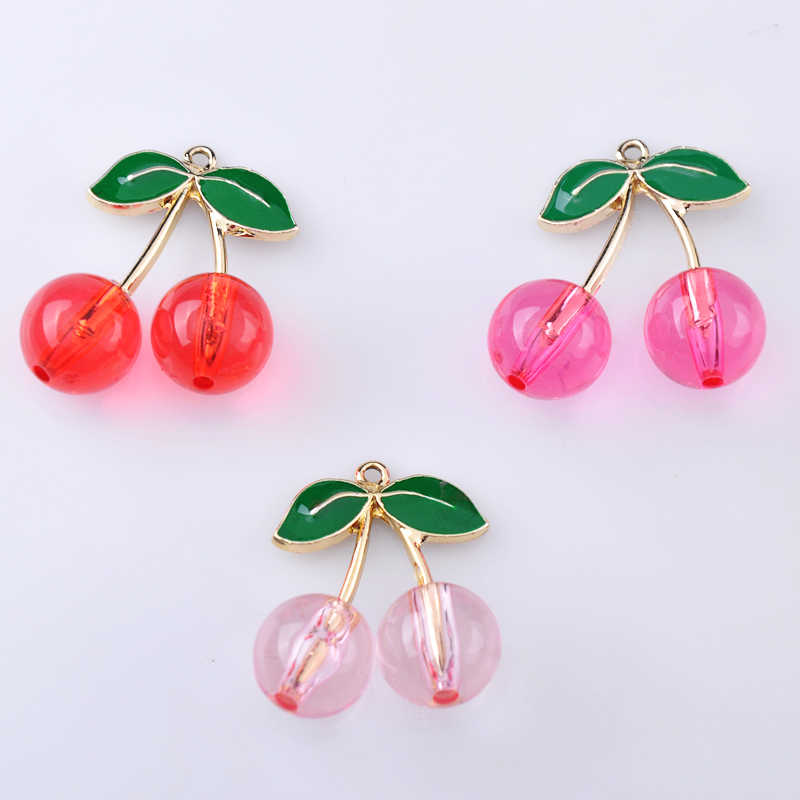 10pcs 28MM Fashion Tricolor enamel cherry charms, metal fruit crystal cherry pendants dangle for earrings jewelry making diy