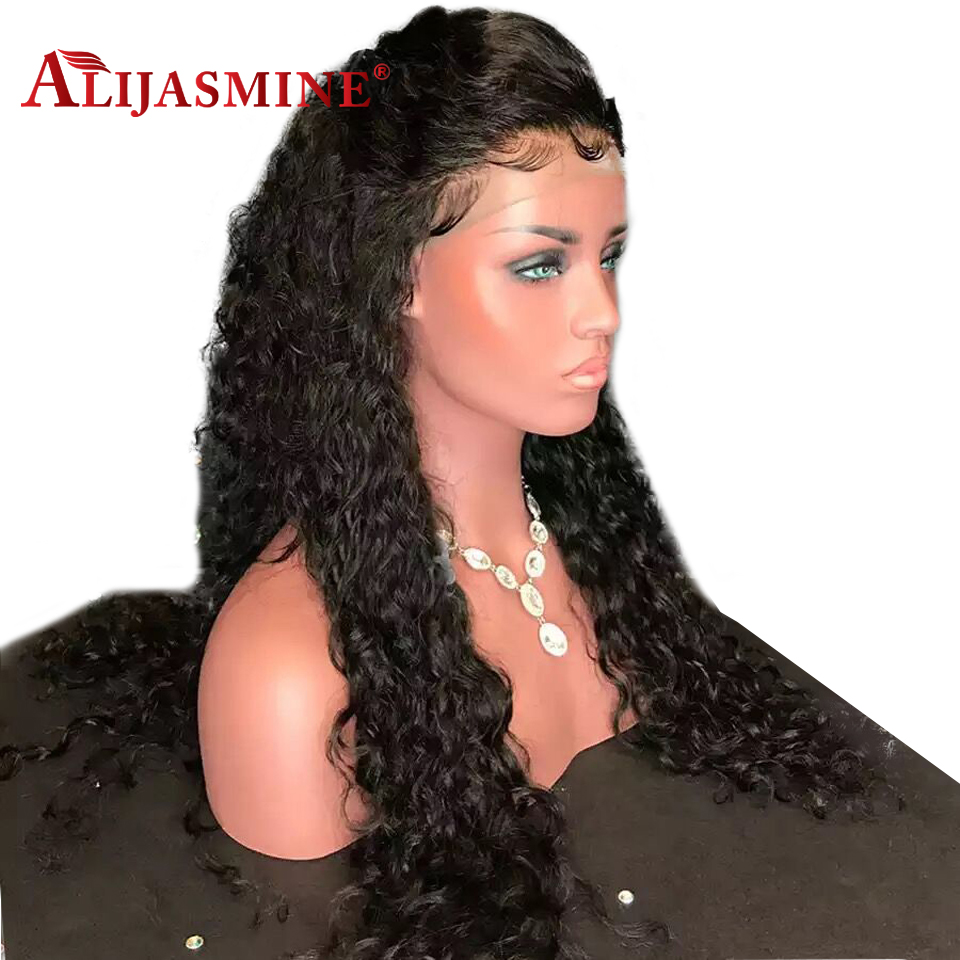150 180 Density Water Wave Lace Front Human Hair Wigs Peruvian Remy Hair Glueless Wig Bleached