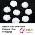 Resina Rose Flower Flatback de la Resina Cabochons 12mm 500 unids/lote Redonda Blanca Flor Color de Rosa Para la Decoración de DIY Resina Artesanía moda