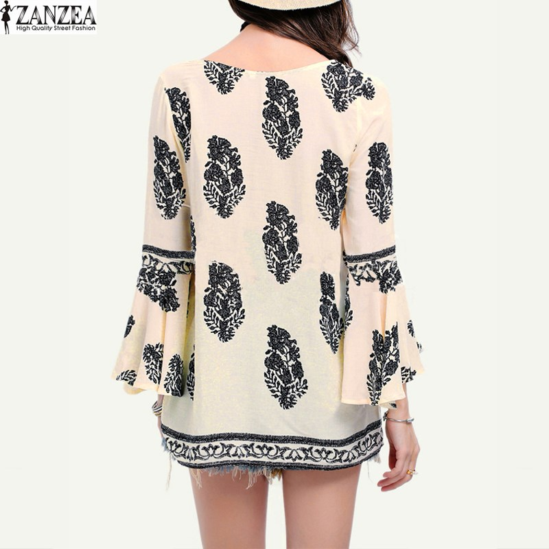 051a2b0e04e ZANZEA 2018 Womens Lace Up V Neck Shirt Oversized Boho Floral Print Flare  Sleeve Casual Loose Blouse Tops-in Blouses   Shirts from Women s Clothing  on ...