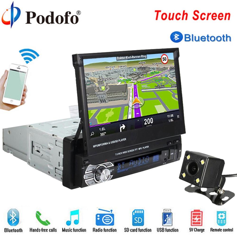 Podofo Autoradio Autoradio GPS Bluetooth Lecteur De Voiture 1 din 7 HD Tactile Universel Voiture Stéréo AUX-IN MP5 FM SD USB Caméra De Recul