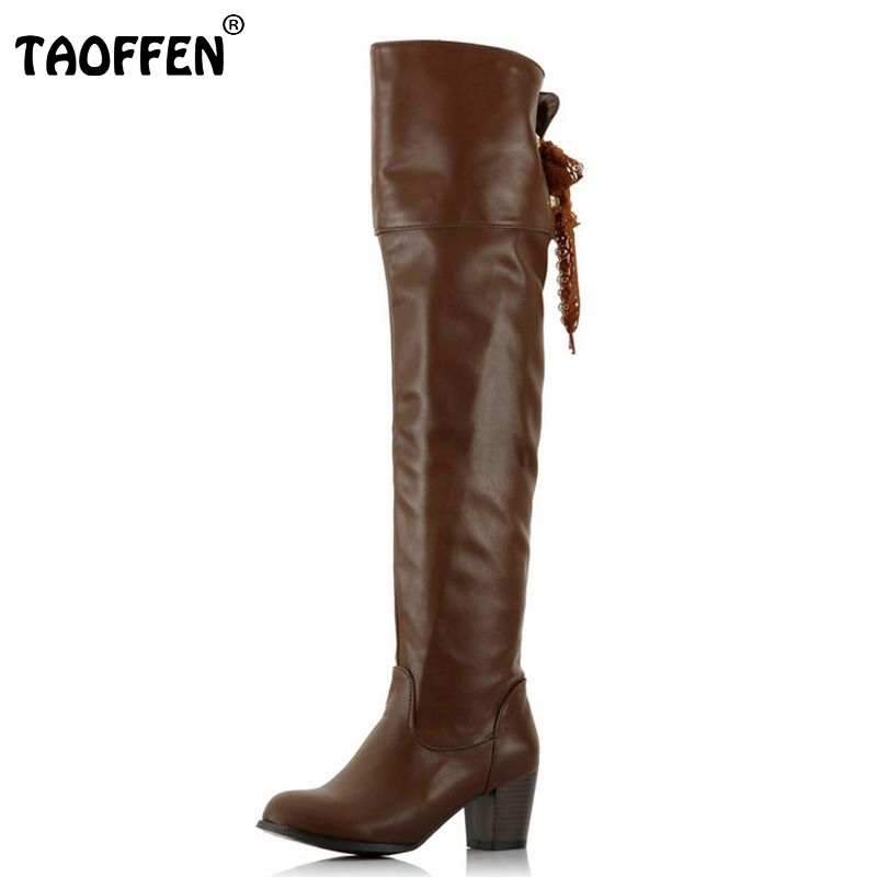 TAOFFEN Free shipping over knee long high heel boots women snow fashion winter warm boot footwear shoes P9943 EUR size 34-46 free shipping 2017 new fashion long spring and summer bell bottom jeans boot cut women slim long trousers lacing up flare pants