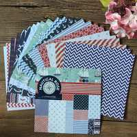 24pcs 6*6inch Navy Anchor Rose Sail Patterned Paper Pack for Scrapbooking DIY Happy Planner Card Making Journal Project
