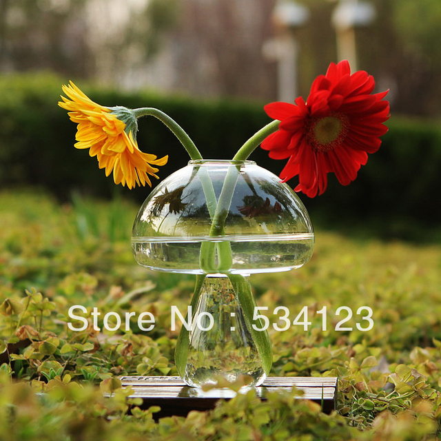 Dia 12*H15cm Mushroom vase for flowers, transparent  table vases for home decoration , glass vase for wedding centerpieces