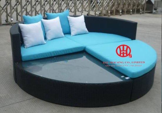 Outdoor PE Rattan Corner Sofa Chaise Lounger With Cushion,elegant Wicker Patio Garden Rattan Chaise Lounge,wicker Canopy Lounge