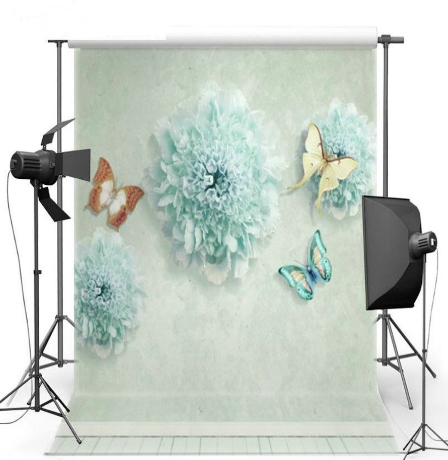 3D Blue Butterfly Flower photo backdrop Vinyl cloth High quality Computer Print wedding Photography Backgrounds