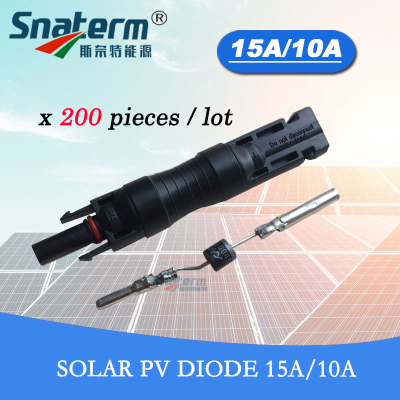 200 Pieces x Solar panels MC4 PV Connectors with Built in 15 Amp 10Amp Diode Solar
