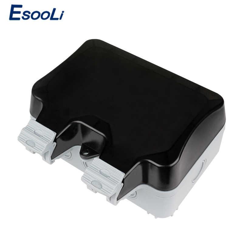 Esooli IP66 עמיד עמיד למים חיצוני קיר כוח שקע 16A כפול האירופי תקן חשמל לשקע הארקה AC 110 ~ 250V