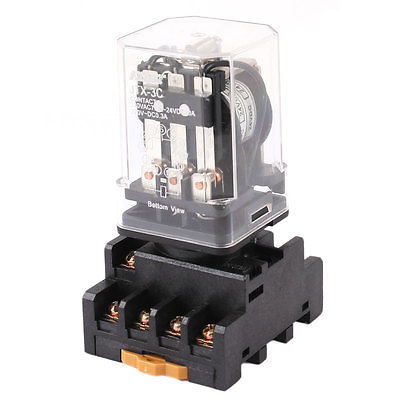 JTX-3C DC 24V Coil 11P 3PDT 3NO 3NC Power Relay + Base Socket 10pcs dc220v coil 3pdt 11pin green led general purpose power relay w socket base free shipping