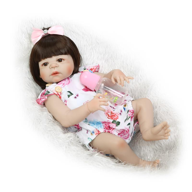 22'' bebe alive reborn bonecas handmade Lifelike Reborn Baby Doll Girls Full Body Vinyl Silicone with Pacifier child gift 55cm full silicone reborn baby doll toy real touch newborn princess toddler babies alive bebe doll with pacifier girl bonecas