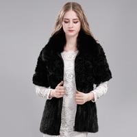 Women Coat Winter Real Fur Coat Natural Mink Fur Overcoat Fox Fur Collar Fashion Fur Genuine
