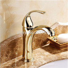 Single Lever Deck Mounted Hot and Cold Basin Faucets Golden Bathroom Mixer Taps