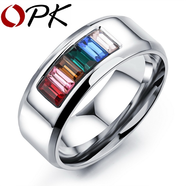 opk fashion rainbow weddingengagement rings for men women wholesale gay pride ring with cubic - Rainbow Wedding Rings