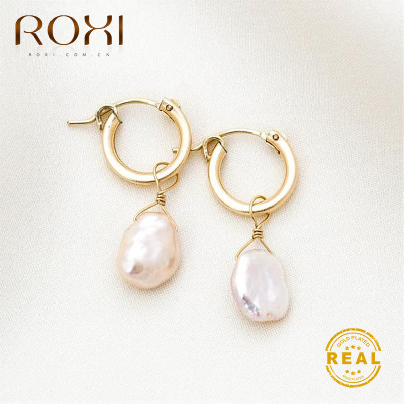 ROXI Natural Freshwater Pearl Earrings Vintage Baroque Pearl Stud Earrings for Women Girls Gift Geometric Circle Korean Earrings