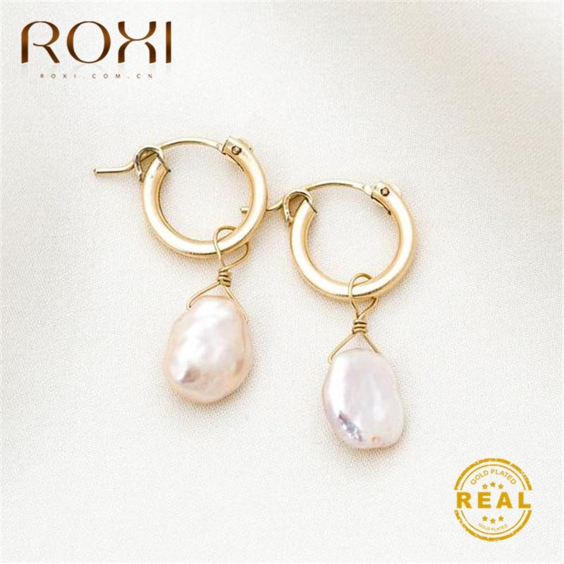 ROXI Natural Freshwater Pearl Earrings Vintage Baroque Pearl Stud Earrings for Women Girls Gift Geometric Circle Korean Earrings