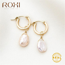 ROXI Natural Freshwater Pearl Earrings Vintage Baroque Stud for Women Girls Gift Geometric Circle Korean