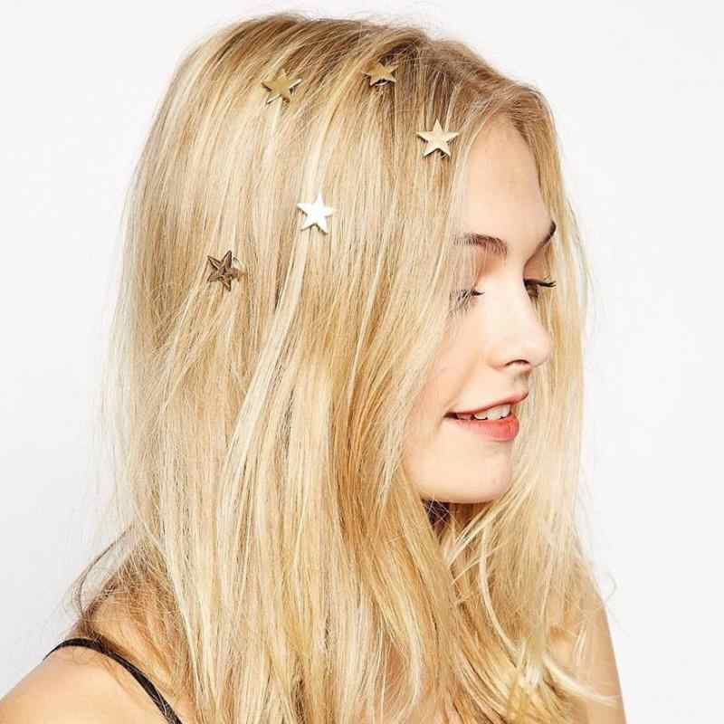 2018 New Fashion Hair Ornaments Five-pointed Star Spring Clip. Free Shipping For Ladies Hair Gift Indian Hair Accessories
