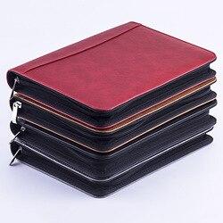 Kawaii A5 Padfolio con Chiusura Lampo Calcolatrice Notebook Raccoglitore Del Cuoio Del Faux Valigetta Cartella Archivio Vintage Spirale Viaggi Nota Libro