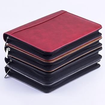 Kawaii Faux Leather A5 Padfolio con calculadora cremallera Binder cuaderno maletín archivo carpeta ejecutiva espiral viaje nota libro