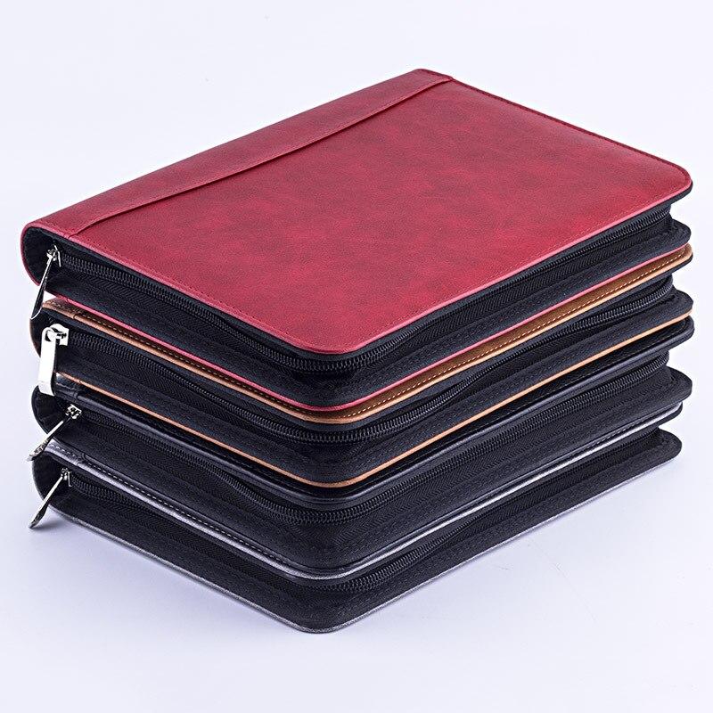 Kawaii Faux cuir A5 Padfolio avec calculatrice classeur à glissière porte-documents pour ordinateur portable dossier exécutif spirale carnet de notes de voyage