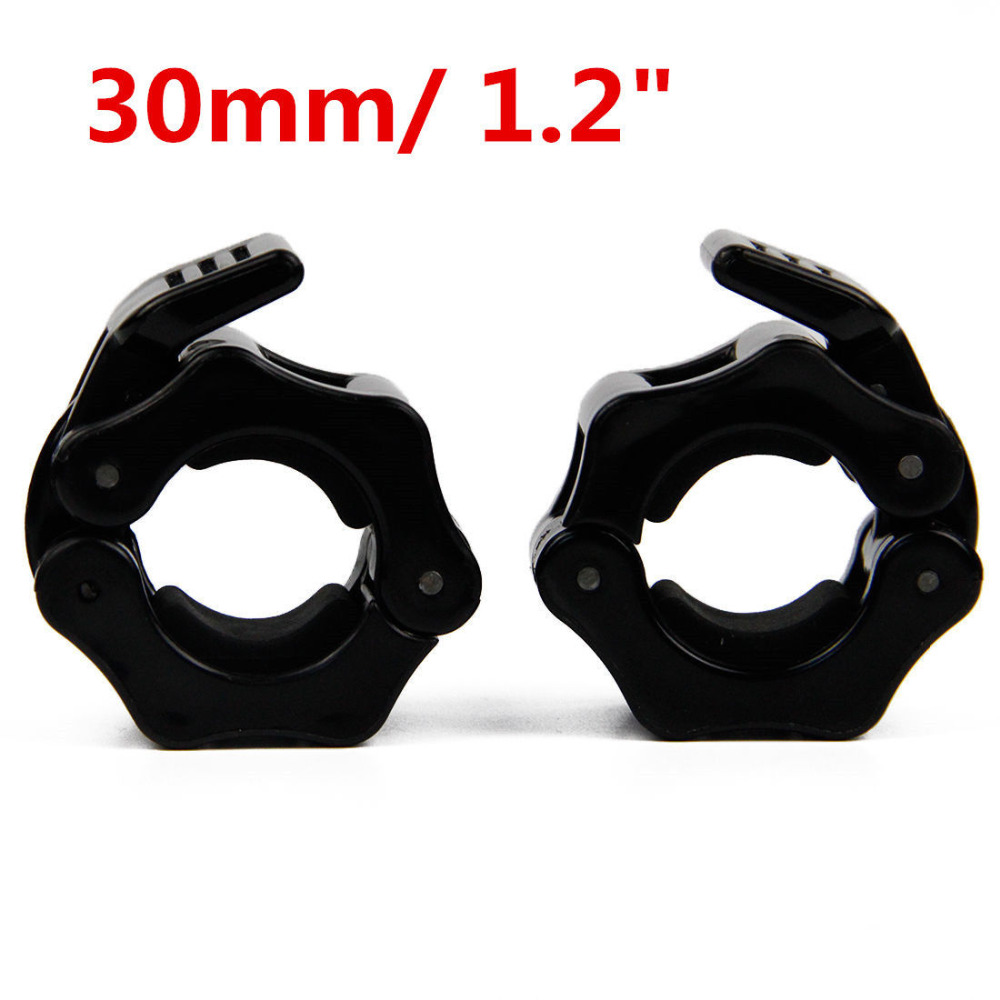 1 Pair 30mm Olympic Barbell Spring Collar Bar Spring Collar Clips Dumbbell  Clamp Spinlocks Gym Fitness Crossfit  Black L00394-C
