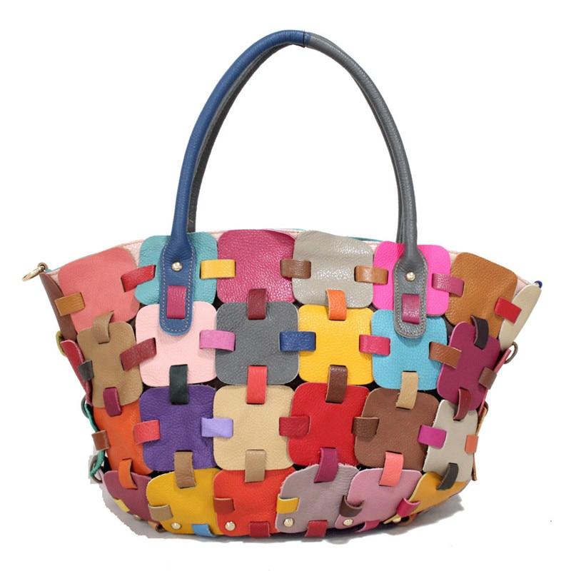 ФОТО Caerlif 2017 womens leather shoulder bag stitching splicing colorful handbag bags elegant women messenger bag clutch bag