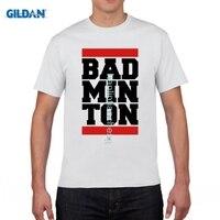 GILDAN Custom Cotton Short Sleeve Bad Minton Design Men T Shirt Big Sale Screw Neck Team