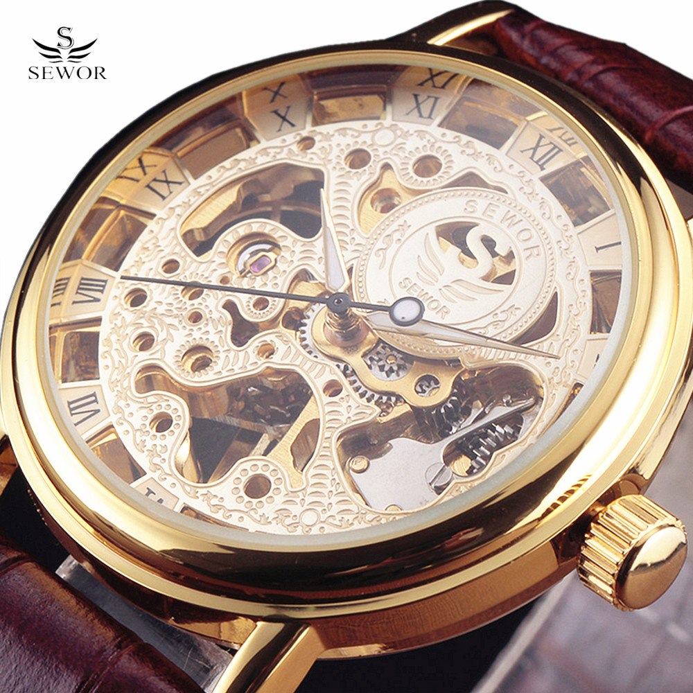 Top Brand SEWOR Skeleton Hollow Dress Mechanical Hand Wind Men Clock Luxury Male Gift Business Leather Military Wrist Watches