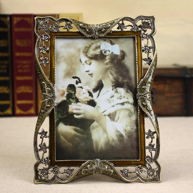 Europe Creative photo frame7 inches, 6 10 inches table top Bedside meta Alloy frame wedding Home decoration