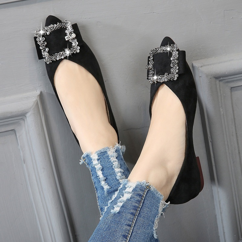 2019 spring new large size women's shoes fashion suede casual shoes shallow mouth pointed rhinestone shoes comfortable flat shoe