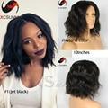 8 '' - 16 '' натуральный-волны бразильского виргинские волос фронта парики короткие боб человеческих волос полный человеческих волос парики для чернокожих женщин