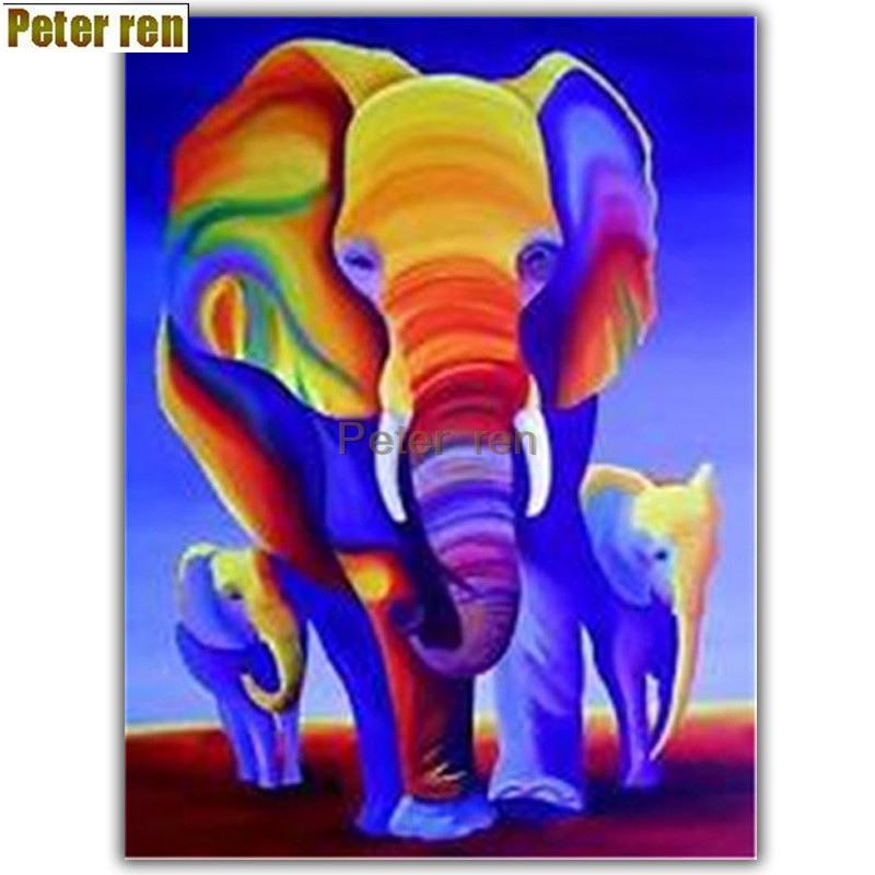 Peter ren Diy diamond painting cross stitch 5D diamond embroidery round Mosaic icon Full Rhinestone Color elephant baby elephant in Diamond Painting Cross Stitch from Home Garden