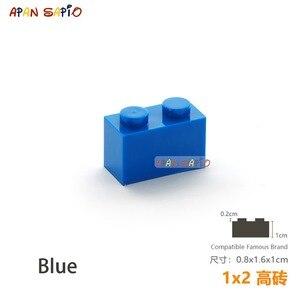 Image 2 - 25 sztuk/partia DIY bloki klocki grube 1X2 edukacyjne montaż budowlane zabawki dla dzieci rozmiar kompatybilny z lego