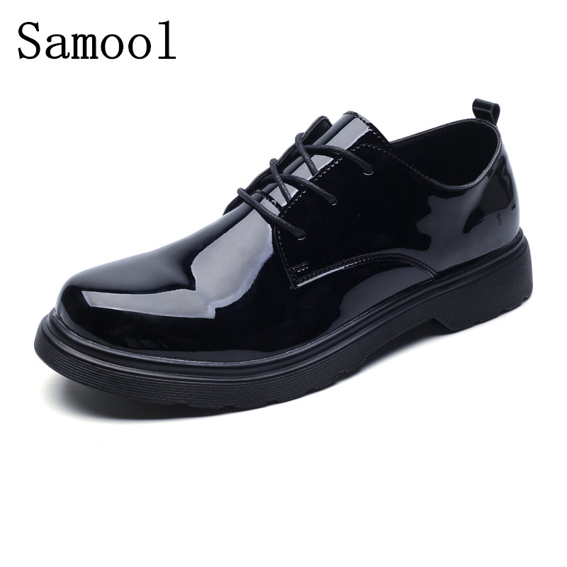 Ring Autumn British Style Fashion Patent Leather Men Dress Shoes Round Toe Mens Work Wedding Shoes For Men Oxford Shoes 2017 men shoes fashion genuine leather oxfords shoes men s flats lace up men dress shoes spring autumn hombre wedding sapatos