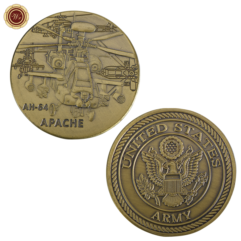 WR AH-64 Apache Copper Plated Metal Coin US Army Design Custom Brass Coin with Cover for Collectible US Souvenir Coin