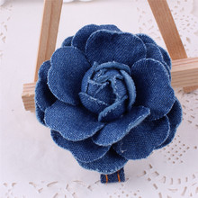 2pcs=1 lot  Princess Denim Cute Hair Clip Flowe Crown Accessories Cowboy Bows Hairpins Ties