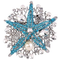 Bella Fashion 2015 New Spring Bridal Ivory Pearl Sea Star Hair Comb Pin Austrian Crystal Wedding