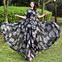 Bohemia Colorful Floral Printed Chiffon Long Maxi Dress Free and loose Beach Wedding Long Flowy Dress with Sleeves navy floral pattern long sleeves maxi dress