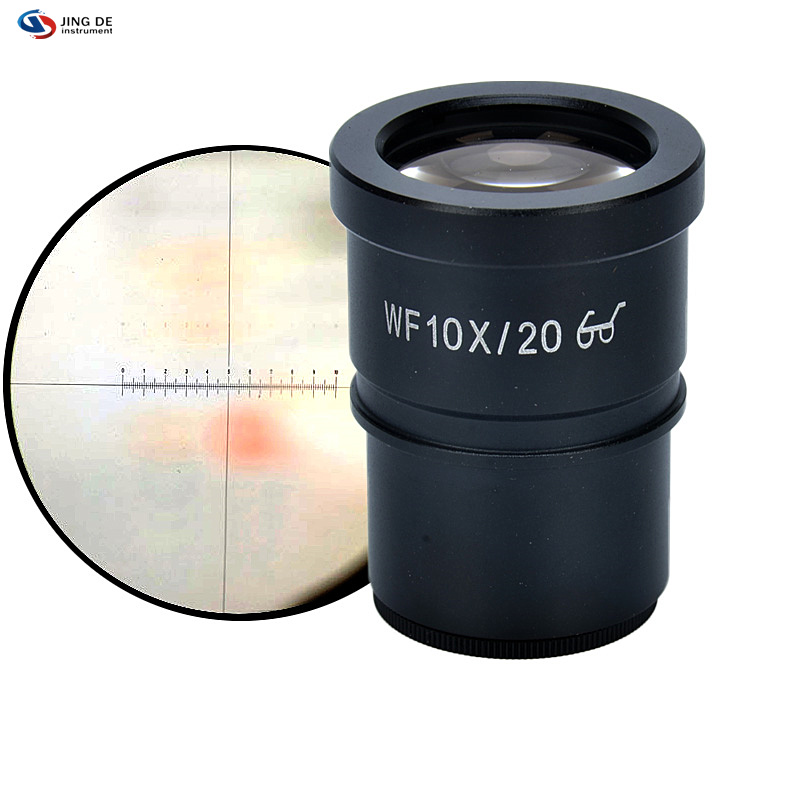 WF10X stereoscopic microscope eyepiece 10 microns wide scale calibration reticle scale plate interfaces outer diameter of 30mm txs 30 dissecting microscope 2x objective wf10x eyepiece monocular stereo microscope 20x up right image