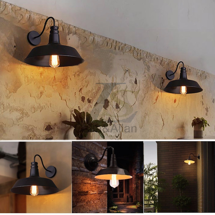 gooseneck sconce views shade down light vintage more warehouse lighting wall