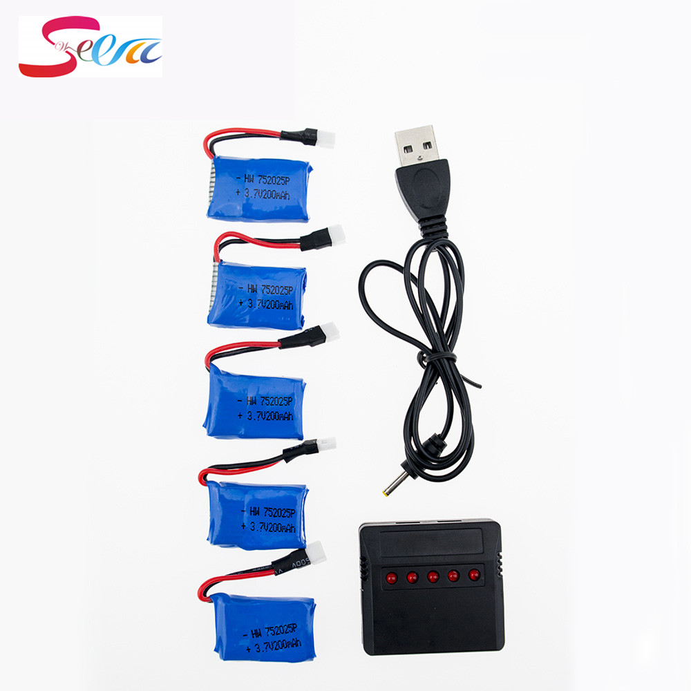 5pcs Syma X11 X11C 3.7V Lipo 200mAh 20C Battery With 5in1 USB Fast Charger Set For Syma X4 X13 Quadcopter RC Drone Airplane Part 4pcs 500mah lipo 4 in 1 usb charger set for syma x5hc x5hw quadcopter remote control drone model spare part replacement set